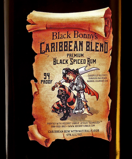 Intricate die cut rum bottle label